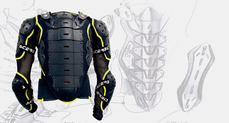 Concept design development acerbis body armor coerta concept design